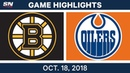 NHL Highlights Bruins vs Oilers Oct 18 2018