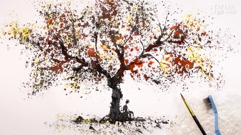 Bubble Wrap and Toothbrush Tree Painting Technique for Beginners