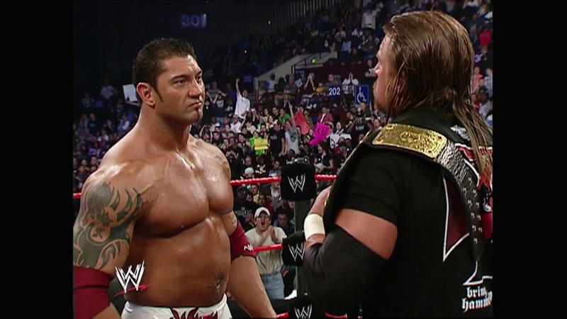 Triple H and Batista Face Off Before Wrestlemania 21 3 28 2005 Raw