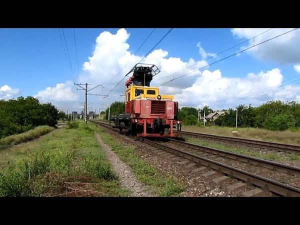 {TRAINS} Дрезина ДГку-4358 с приветливой локомотивной бригадой [12.09.2018]