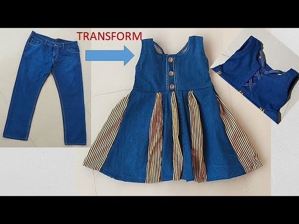 Transform Old Jeans To Designer Baby Frock Cutting And Stitching Full Tutorial