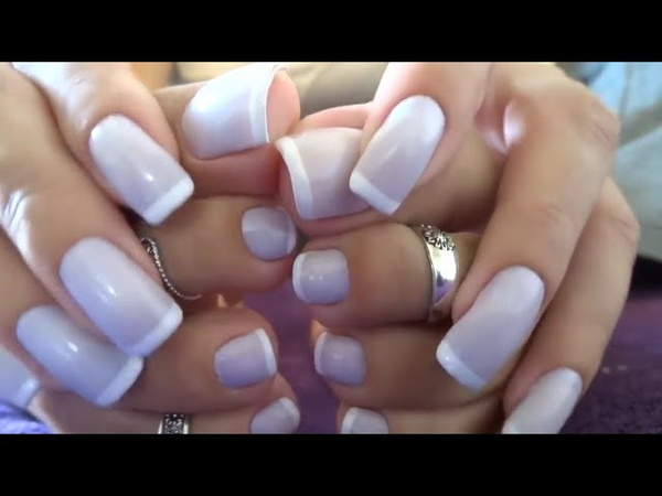Beauty Woman Show Her Hands and Feet in French Nails