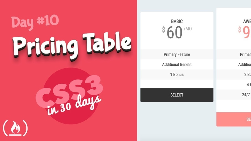 Pricing Table: CSS Tutorial (Day 10 of CSS3 in 30 Days)