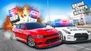 Dodge Charger SRT уходит от Nissan GT-R R35! Полицейские Догонялки в ГТА 5 Онлайн!