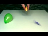 You can pop a balloon with an orange limonene from the orange dissolves or weakens the rubber balloon