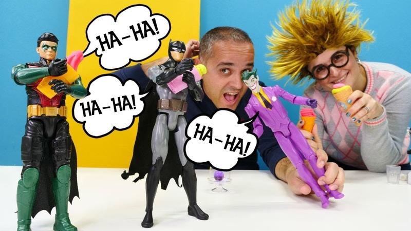 Batman ve Robin gülme krizine giriyorlar! Play Doh dondurma dükkanı. Hamur oyunu