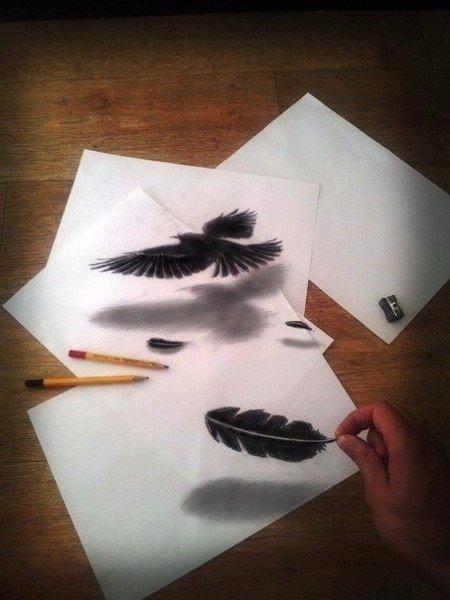 Ошеломляющие трехмерные рисунки, сделанные карандашом