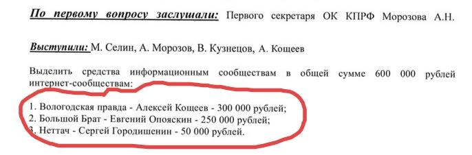 Вологодские коммунисты обратились в полицию из-за фейковых сообщений о полученных ими премиях