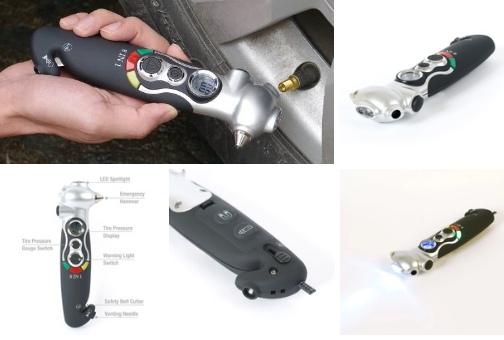 Нужный мультитул на восемь инструментов среди которых есть манометр для шин резак ремней безопасности стеклобой и фонари