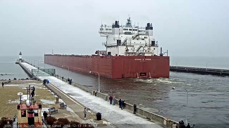 Edgar B Speer departed Duluth 12 13 2018