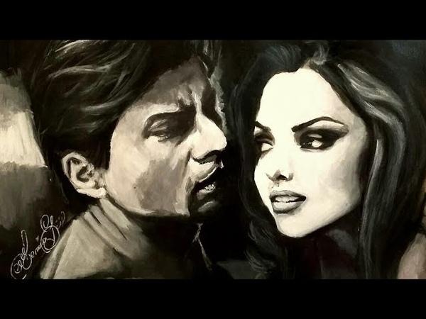 Шахрукх Кхан Дипика Падуконе Арт Shahrukh Khan Deepika drawing Acrylic Art painting