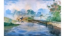 Watercolor Painting of a Bridge and Birds Watercolor landscape Painting by Prashant Sarkar