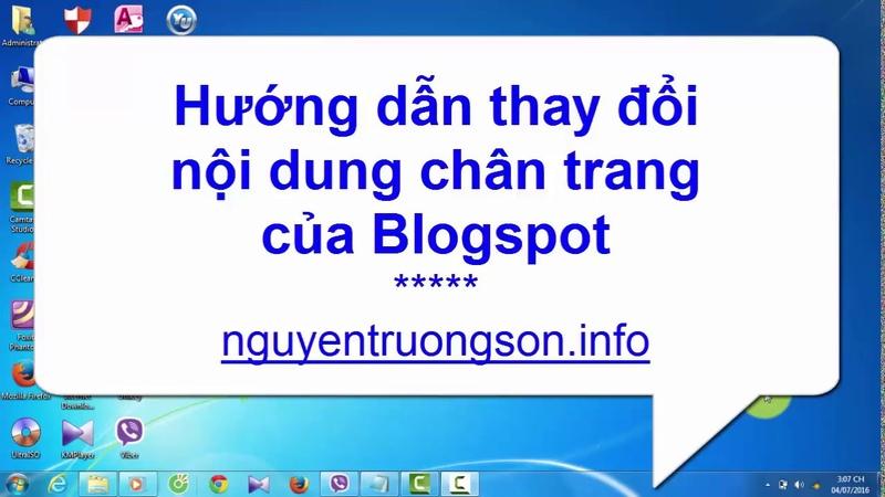 Hướng dẫn thay đổi nội dung chân trang Blogspot