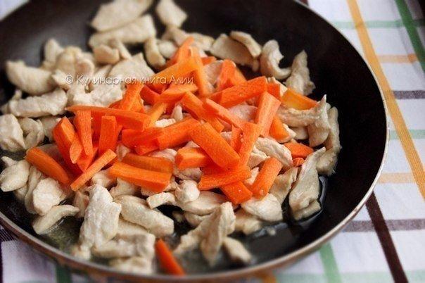 Соте с курицей и грибами.