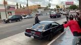 David Hasselhoff arrives in K.I.T.T. car at Strange 80s 2