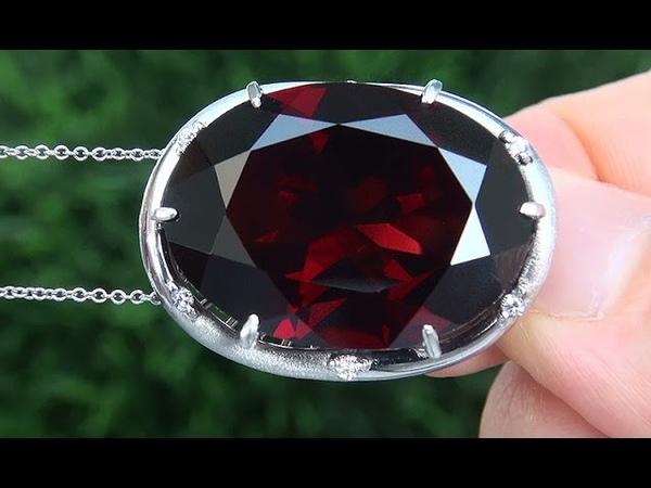 GIA Certified Natural Unheated Pyrope Rhodolite Garnet Diamond PLATINUM Pendant Necklace - A141462