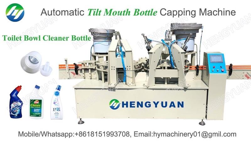 Automatic tilt bottle capping machine, anti-corrosive toilet bowl cleaner bottle capping machine