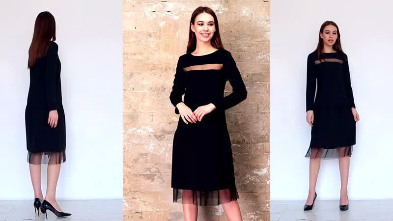 Платье-миди с акцентами из полупрозрачной сетки