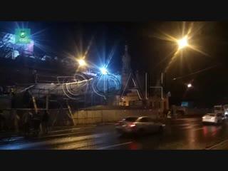 С восстанавливаемой Скорбященской церкви рухнули строительные леса: ФАН публикует видео с места ЧП