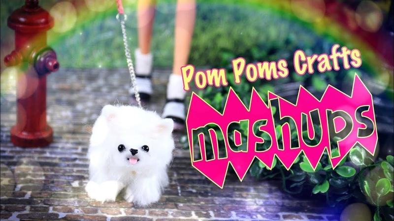 Mash Ups Doll Pom Poms Crafts - No Sew Puppies In Depth | Slippers more