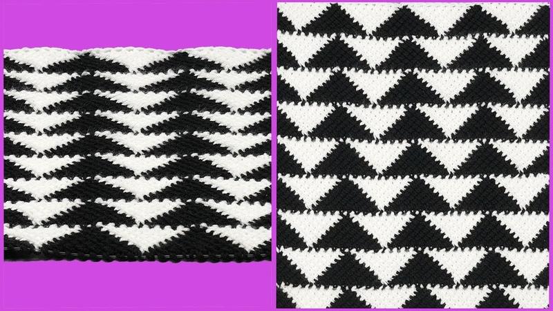 Узор треугольники тунисским крючком. Мастер класс вязания крючком. Crochet pattern.