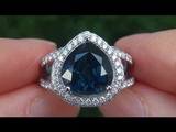 GIA Certified UNHEATED VVS Natural Blue Sapphire Diamond 18k White Gold Engagement Ring - A141563a