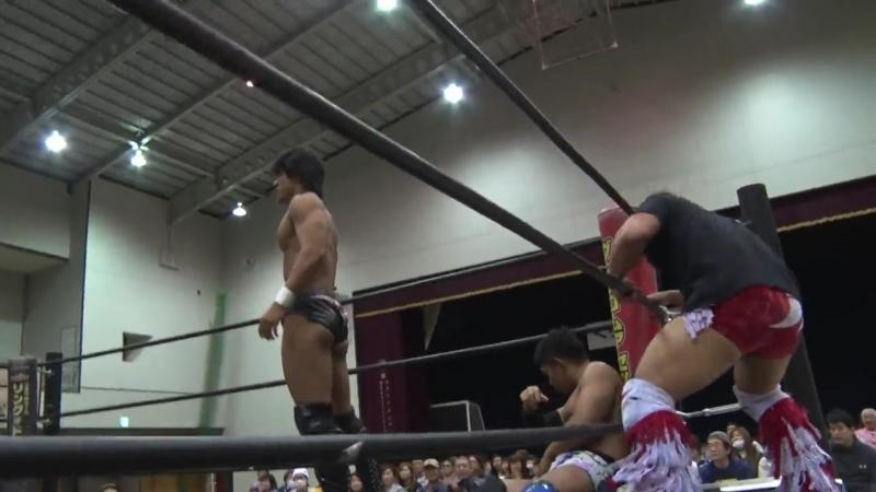 Akito, Yuki Ino vs. Nobuhiro Shimatani, Tetsuya Endo (DDT - Road to Ryogoku 2018 ~ Dramatic Dream King Crab)