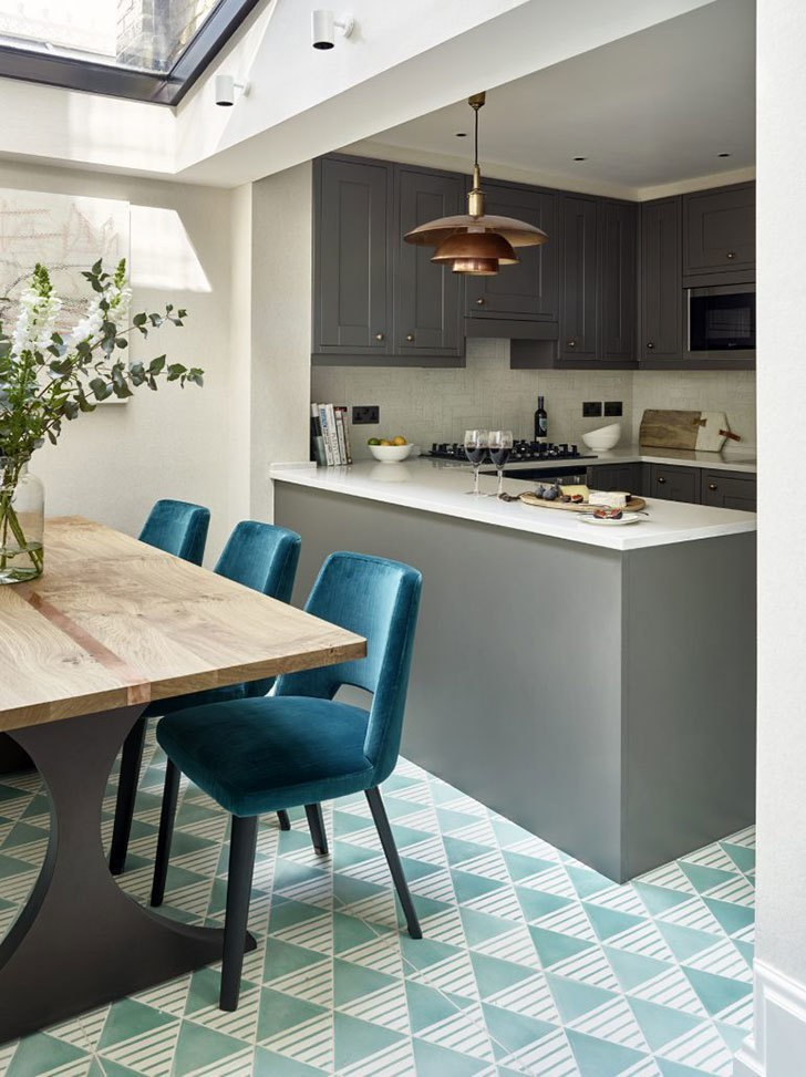 Интерьер в оттенках бирюзы в Лондоне #Квартира #Жилье#design #Дизайнквартиры