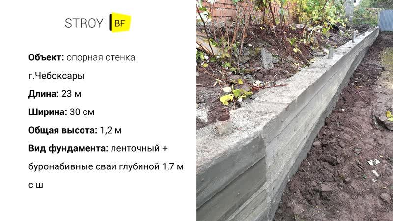 Фундаменты в Чебоксарах (подпорная стенка)