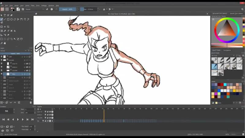Lets Animate Ep. 14 - Krita- Lara Croft vs. Lizard 👄️🏹