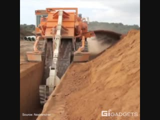 This machine digs massive trench in seconds