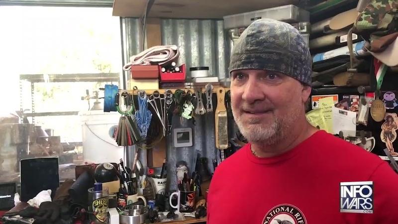 Alex Jones Enters Jesse James' Armory Forge In Texas