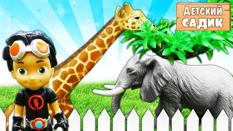 Игрушки из мультиков в Детском садике Расти механик Кэтбой и София в зоопарке Видео для детей