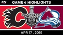NHL Highlights Flames vs Avalanche, Game 4 – April 17, 2019