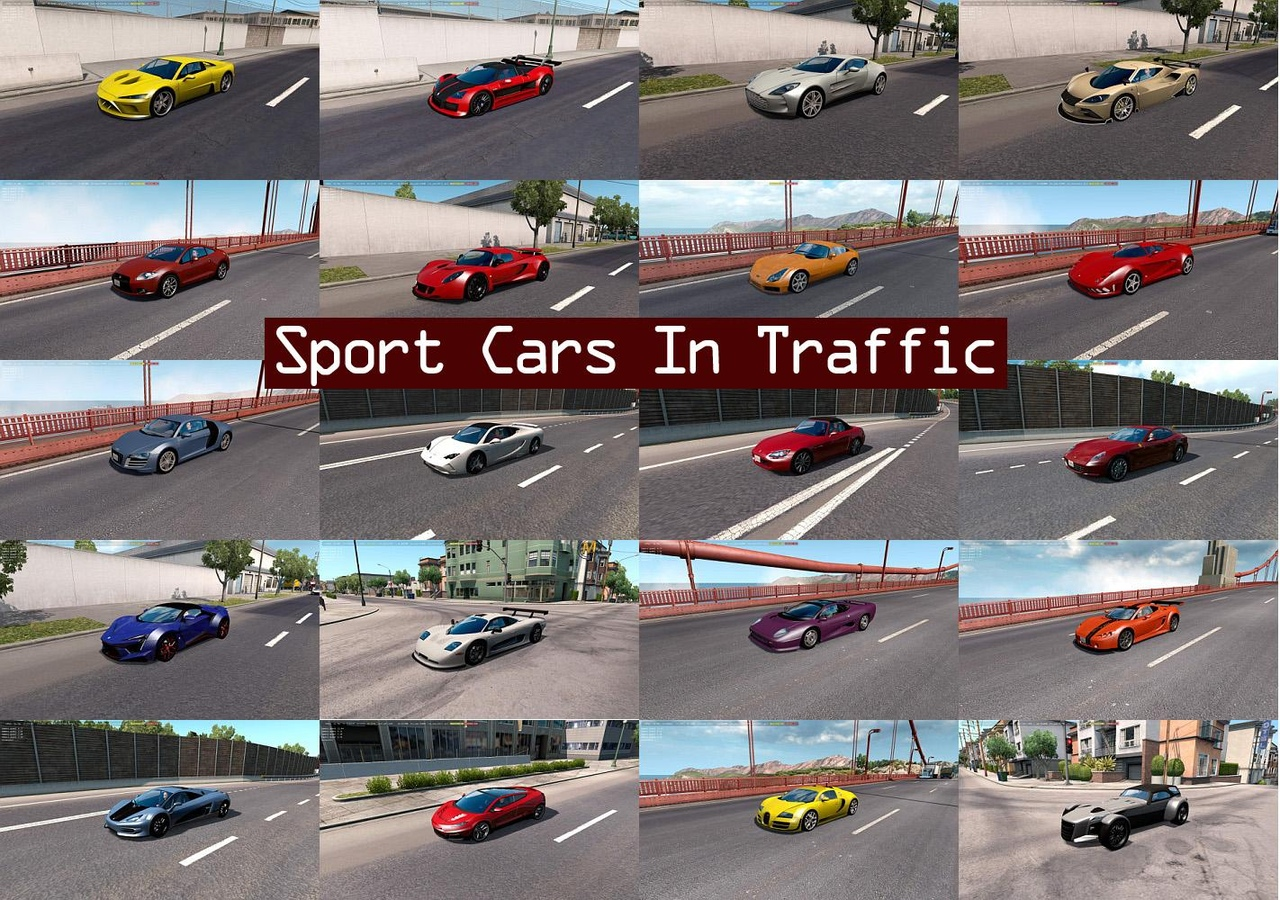 SPORT CARS TRAFFIC PACK FOR ATS BY TRAFFICMANIAC V1.8