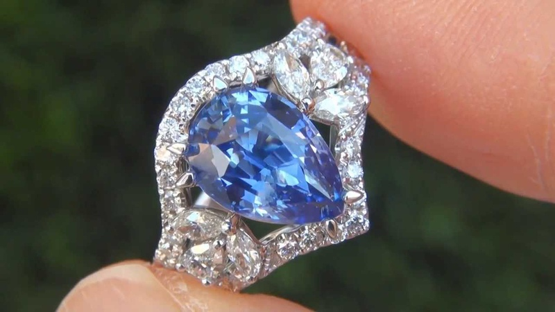 $34,800 GIA Certified Top Gem VVS1 Clarity 5.01 Carat Natural Blue Sapphire Diamond Ring A131558