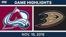 NHL Highlights Avalanche vs Ducks Nov 18 2018