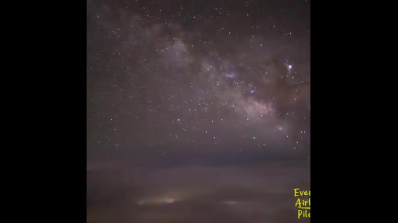 Полет на самолете во время метеорного потока Персеиды 13.08.2019г