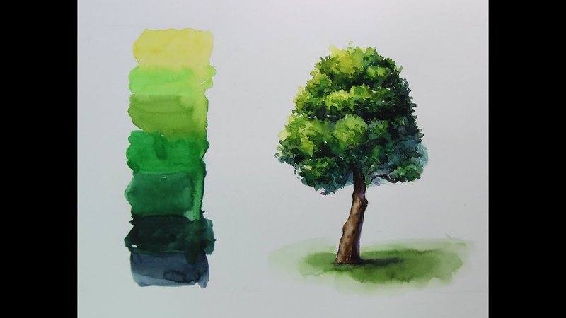(수채화 기초) 흘리기, 번지기 기법을 활용한 나무그리기 풍경수채화 (Tree watercolor using she
