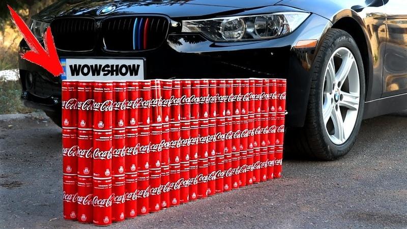EXPERIMENT CAR vs 100 Coca Cola Cans