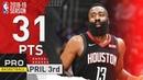 James Harden (31 Pts, 7 Ast) Full Highlights Rockets vs Clippers   Apr. 3, 2019   NBA Season