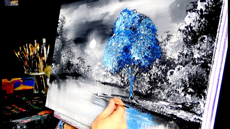 No One Else - blue tree, acrylic, abstract, landscape painting by Dranitsin