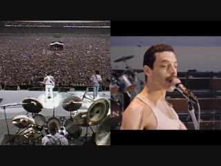 Queen live at live aid side by side with rami malek