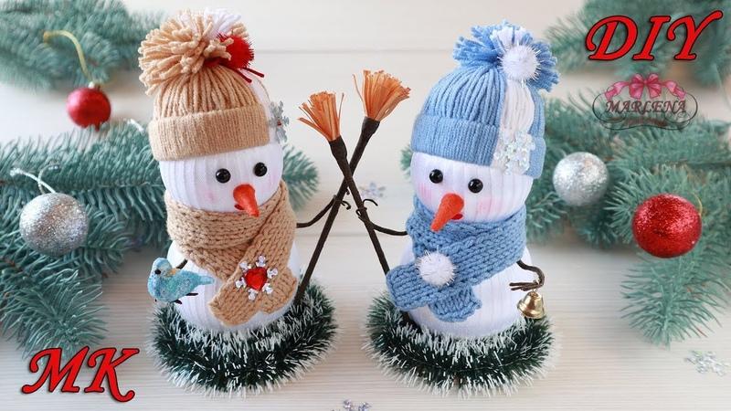 ⛄ СНЕГОВИК из лент. Новогодний декор своими руками. DIY SNOWMAN
