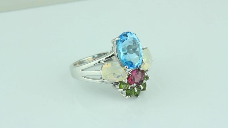 Кольцо оправа серебро 925, вставка природный голубой топаз, опал, гранат и хризолит