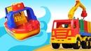 Yardımcı arabalar. Arabalı oyuncak gemi gölde çalışıyor.
