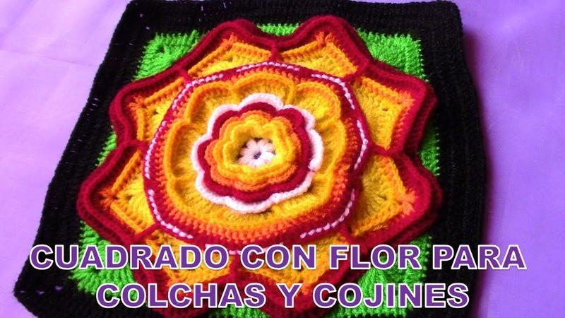 Cuadrado o muestra a crochet de flores para colchas y cojines paso a paso