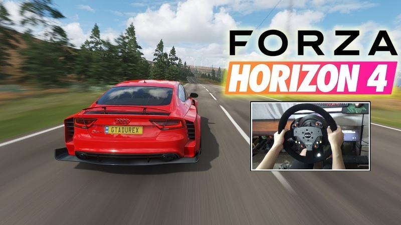 BEST RACING GAME 2019! Audi RS 7 Sportback 2013 Forza Horizon 4 (STEERING WHEEL GAMEPLAY)