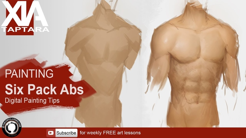 Painting Six Pack abs digital painting tips