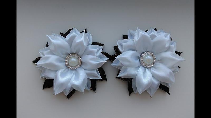 Школьные черно-белые бантики из лент 2,5 см МК Канзаши / School black and white bows Kanzashi MK